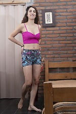 Sofia H poses in her new colorful shorts