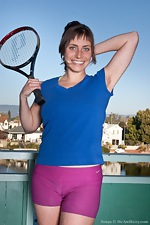 Tanya takes a breather from her tennis practice