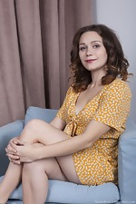 Sharon Rosie strips nude in her blue armchair